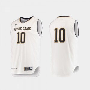 Notre Dame Fighting Irish Jersey #10 Authentic White For Men College Basketball