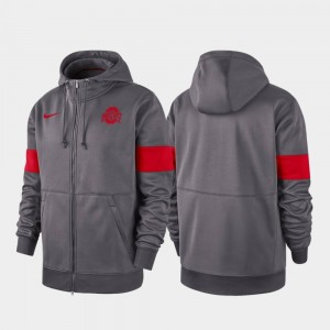 Ohio State Buckeyes Hoodie Performance Full-Zip For Men's 2019 Sideline Therma-FIT Anthracite