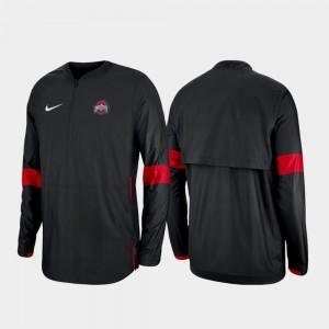 Ohio State Buckeyes Jacket Quarter-Zip Black Men's 2019 Coaches Sideline