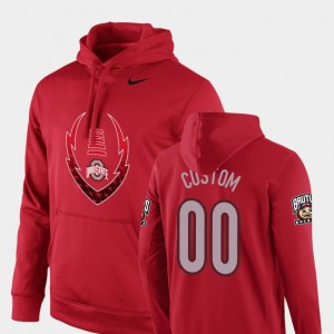 Ohio State Buckeyes Customized Hoodie Football Performance #00 Scarlet Icon Circuit For Men