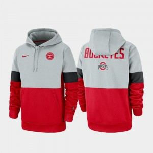 Ohio State Buckeyes Hoodie For Men's Gray Scarlet Therma Performance Pullover Rivalry