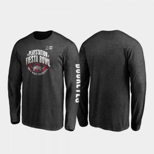 Ohio State Buckeyes T-Shirt Neutral Stiff Arm Long Sleeve Mens 2019 Fiesta Bowl Bound Heather Charcoal