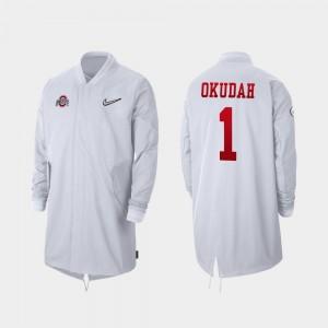 Ohio State Buckeyes Jeff Okudah Jacket Full-Zip Sideline #1 For Men's White 2019 College Football Playoff Bound