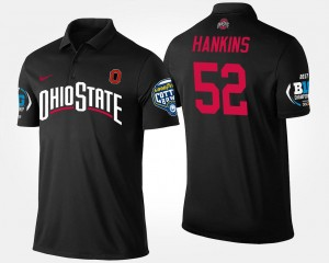 Ohio State Buckeyes Johnathan Hankins Polo Big Ten Conference Cotton Bowl #52 For Men's Bowl Game Black