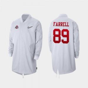 Ohio State Buckeyes Luke Farrell Jacket Full-Zip Sideline For Men #89 White 2019 College Football Playoff Bound