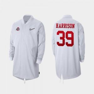 Ohio State Buckeyes Malik Harrison Jacket Men Full-Zip Sideline White #39 2019 College Football Playoff Bound