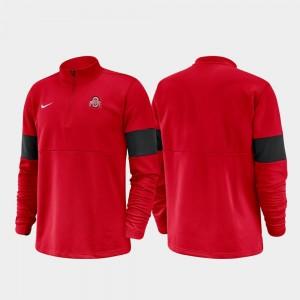 Ohio State Buckeyes Jacket 2019 Coaches Sideline Scarlet For Men Half-Zip Performance