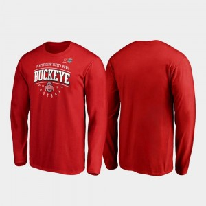 Ohio State Buckeyes T-Shirt Scarlet Tackle Long Sleeve For Men 2019 Fiesta Bowl Bound