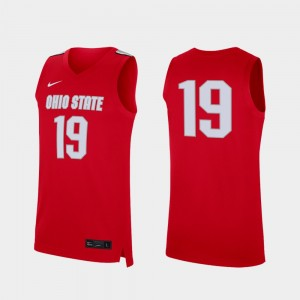 Ohio State Buckeyes Jersey Mens #19 Scarlet Replica College Basketball