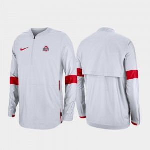 Ohio State Buckeyes Jacket Quarter-Zip 2019 Coaches Sideline White For Men's