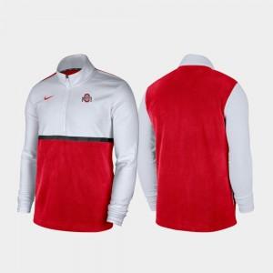 Ohio State Buckeyes Jacket Quarter-Zip Pullover White Scarlet Men's Color Block