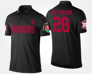 Oklahoma Sooners Adrian Peterson Polo For Men Bowl Game #28 Big 12 Conference Rose Bowl Black