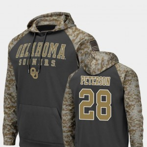Oklahoma Sooners Adrian Peterson Hoodie For Men Colosseum Football Charcoal #28 United We Stand