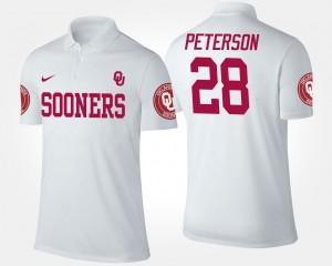 Oklahoma Sooners Adrian Peterson Polo #28 Men White