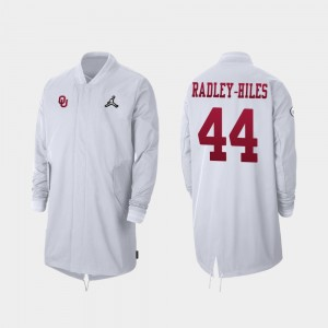 Oklahoma Sooners Brendan Radley-Hiles Jacket 2019 College Football Playoff Bound White For Men's #44 Full-Zip Sideline