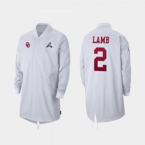 Oklahoma Sooners CeeDee Lamb Jacket Full-Zip Sideline 2019 College Football Playoff Bound White #2 For Men