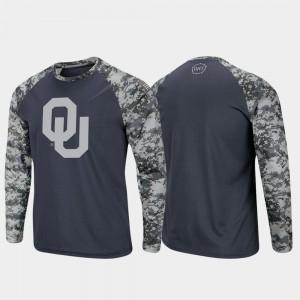 Oklahoma Sooners T-Shirt Charcoal Camo OHT Military Appreciation Men's Raglan Long Sleeve Digi Camo
