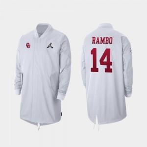 Oklahoma Sooners Charleston Rambo Jacket Full-Zip Sideline White #14 Men 2019 College Football Playoff Bound