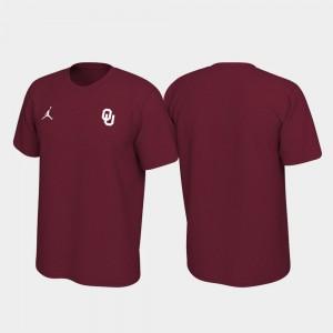 Oklahoma Sooners T-Shirt Men Left Chest Logo Crimson Legend