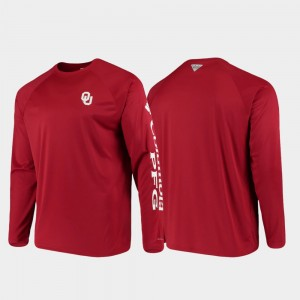 Oklahoma Sooners T-Shirt Omni-Shade PFG Terminal Tackle Long Sleeve For Men Crimson