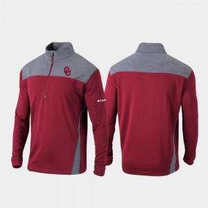 Oklahoma Sooners Jacket Mens Quarter-Zip Pullover Omni-Wick Standard Crimson