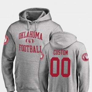 Oklahoma Sooners Custom Hoodies Ash Neutral Zone College Football #00 Mens
