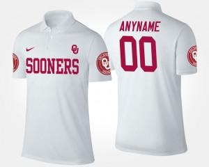 Oklahoma Sooners Custom Polo White #00 For Men's