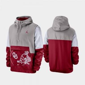 Oklahoma Sooners Jacket Gray Quarter-Zip Mens Colorblock Anorak