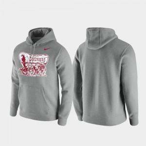 Oklahoma Sooners Hoodie Men's Club Fleece Heathered Gray Vintage Logo