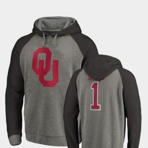 Oklahoma Sooners Hoodie Greatest Dad Raglan Tri-Blend Big & Tall Heathered For Men's