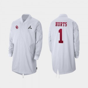 Oklahoma Sooners Jalen Hurts Jacket Full-Zip Sideline 2019 College Football Playoff Bound #1 White For Men