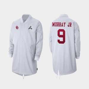 Oklahoma Sooners Kenneth Murray Jacket #9 For Men's Full-Zip Sideline White 2019 College Football Playoff Bound