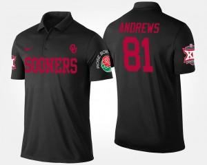 Oklahoma Sooners Mark Andrews Polo Black #81 Bowl Game Big 12 Conference Rose Bowl For Men's