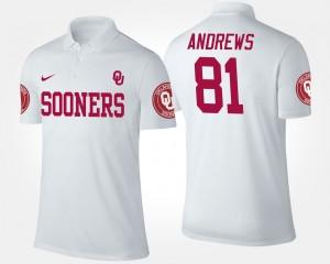 Oklahoma Sooners Mark Andrews Polo #81 White Mens