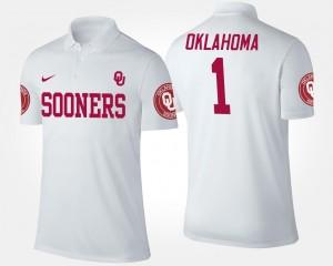 Oklahoma Sooners Polo #1 White No.1 Short Sleeve Men