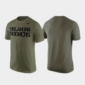 Oklahoma Sooners T-Shirt Stencil Wordmark Olive Mens