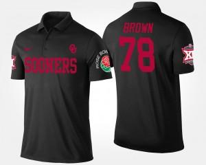 Oklahoma Sooners Orlando Brown Polo Bowl Game Black Men Big 12 Conference Rose Bowl #78