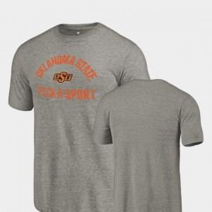 Oklahoma State Cowboys and Cowgirls T-Shirt Gray Tri-Blend Distressed For Men's Pick-A-Sport