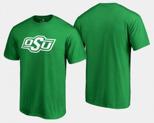Oklahoma State Cowboys and Cowgirls T-Shirt St. Patrick's Day Kelly Green Mens White Logo Big & Tall