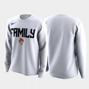 Oklahoma State Cowboys and Cowgirls T-Shirt White Men March Madness Legend Basketball Long Sleeve Family on Court