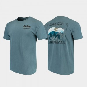 Ole Miss Rebels T-Shirt Comfort Colors Mens Blue State Scenery