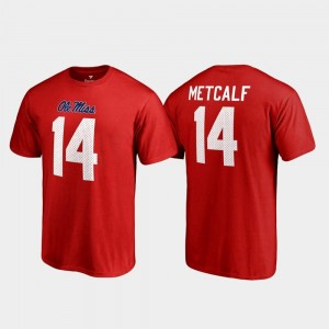 Ole Miss Rebels DK Metcalf T-Shirt For Men's College Legends Red Name & Number #14