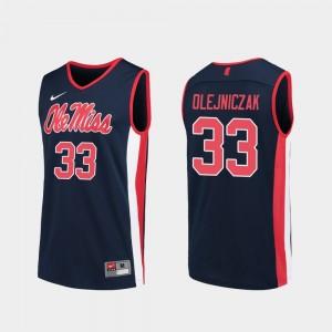 Ole Miss Rebels Dominik Olejniczak Jersey Navy #33 Men Replica College Basketball