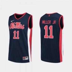 Ole Miss Rebels Franco Miller Jr. Jersey College Basketball Replica Navy #11 Men