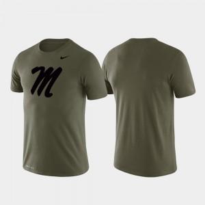 Ole Miss Rebels T-Shirt Mens Green Tonal Logo Legend Performance