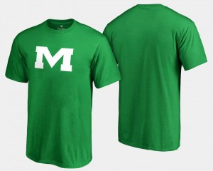 Ole Miss Rebels T-Shirt St. Patrick's Day Kelly Green Men's White Logo Big & Tall
