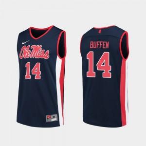 Ole Miss Rebels KJ Buffen Jersey Navy Replica For Men's #14 College Basketball