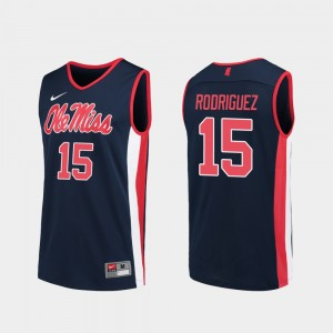 Ole Miss Rebels Luis Rodriguez Jersey For Men Navy Replica #15 College Basketball
