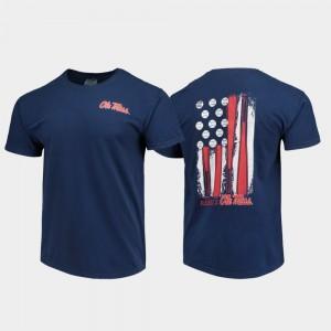 Ole Miss Rebels T-Shirt Comfort Colors Navy Baseball Flag For Men's
