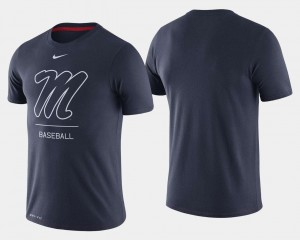 Ole Miss Rebels T-Shirt Dugout Performance Navy College Baseball Mens